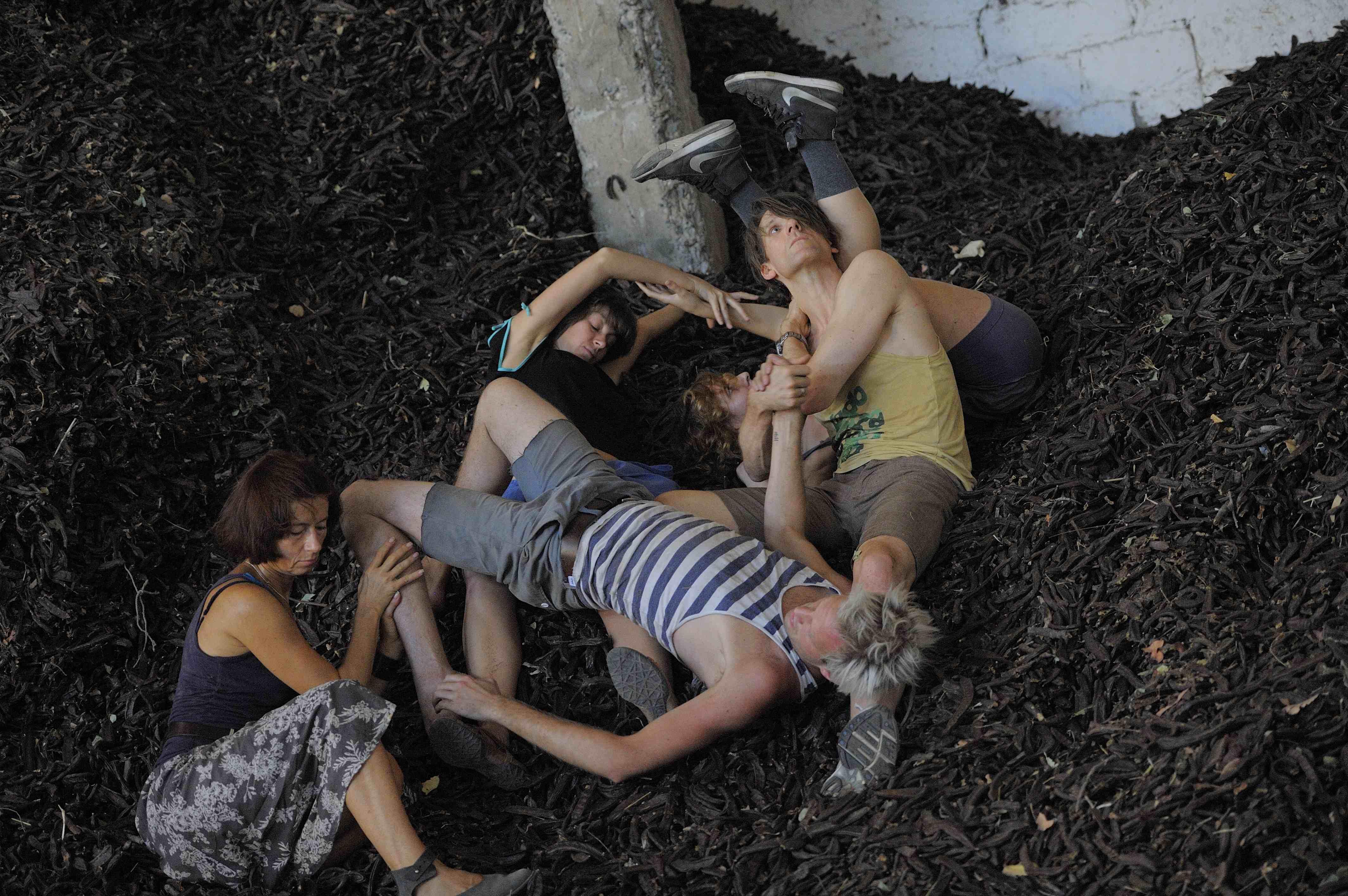 Olga, Luke, Arianna, Madalina and Fearghus in Charob Factory (photo Souzana Phialas)