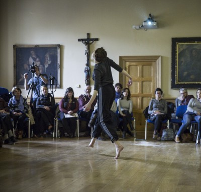 Liv O'Donoghue dancing material from The Casement Project (Photo Ste Murray)